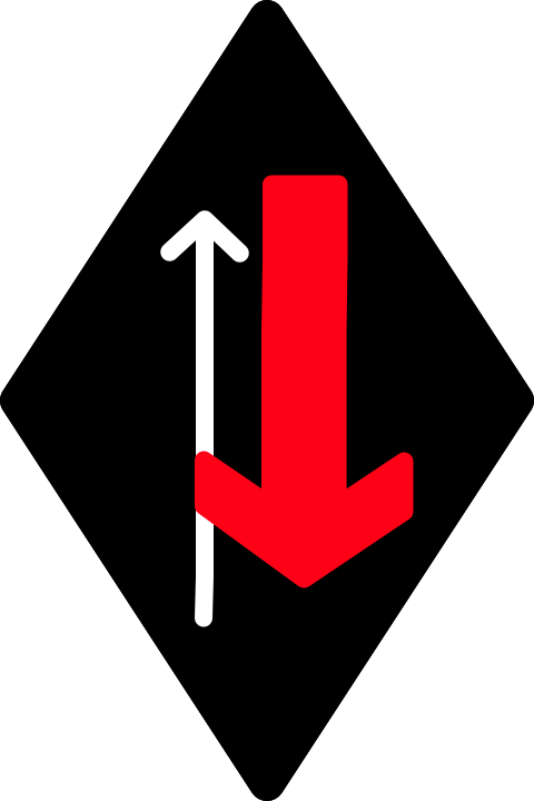 (black diamond with a red arrow crossing another from the right)