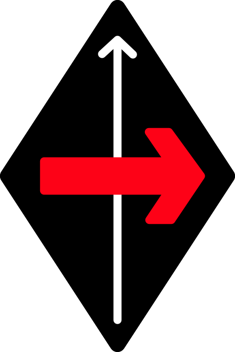 (black diamond a red arrow crossing another from the left)